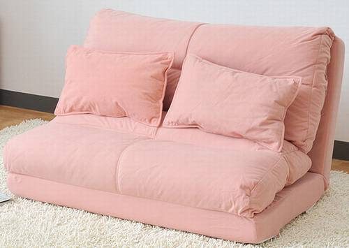 アキレス ソファーベッド(クッション2個付) ピンク  ESBC-0901(PI)