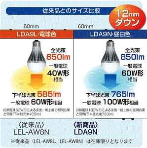 TOSHIBA E-CORE LED電球 一般電球形 9.4W 電球色 LDA9L