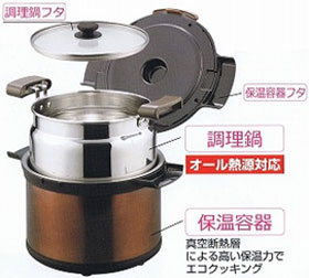 パール金属 エコック 真空保温調理鍋3.2L ステンシルバー H-8098