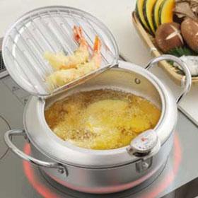 味楽亭II 温度計付き フタ付き天ぷら鍋