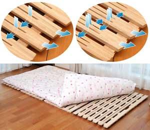布団が干せる 桐すのこベッド 四つ折れ式