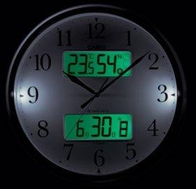 カシオ 温度湿度計 常時点灯機能 秒針停止機能付き 電波アナデジ掛時計 ITM-800NJ-5JF 濃茶目調 ITM-800NJ-5JF
