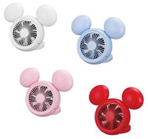 Disney (ディズニー) ミッキー 型 3電源(AC,USB,乾電池) 10cm コンパクトデスク扇風機 手鏡付 アロマ付