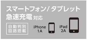 iPhone/iPad/Androidスマートフォンの急速充電に対応
