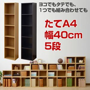 山善(YAMAZEN) A4収納 カラーボックス 5段 幅40 高さ180 ライトブラウン CAB-1840(LBR)