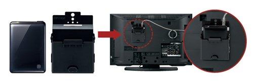 ハードディスクをテレビの背面に収納できる取付キット付き テレビに簡単設置・簡単設定