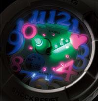 アクティブな女性のためのカジュアルウオッチBaby-Gから、内蔵のブラックライトに反応して針・文字などが発光するネオンイルミネーターを搭載した「Neon Dial Series(ネオンダイアルシリーズ)」が登場