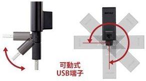 USB端子の向きに合わせ角度調整可