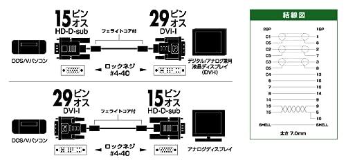 パソコンとデジタル/アナログ兼用液晶ディスプレイを接続するケーブル