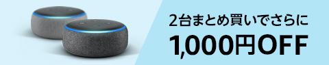 Echo Dot 2台まとめ買いで1,000円OFF