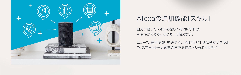 Alexaの追加機能「スキル」 自分に合ったスキルを探して有効にすれば、 Alexaができることがもっと増えます。 ニュース、運行情報、英語学習、レシピなど生活に役立つスキルや、スマートホーム家電の音声操作スキルもあります。*1