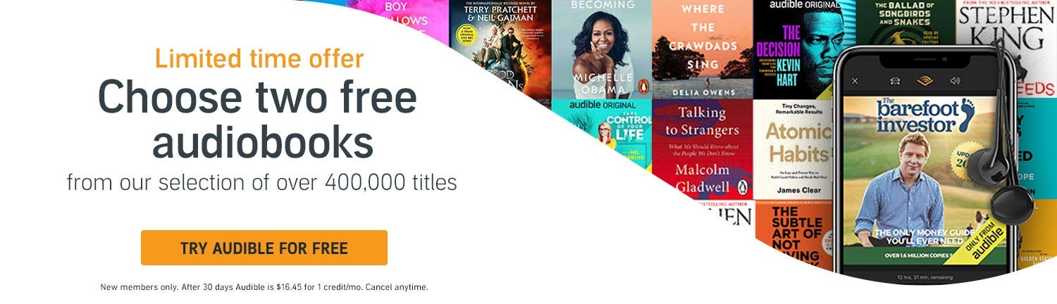Limited time offer - Choose two audiobooks free
