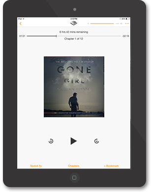 iPad Audible App with Gone Girl by Gillian Flynn