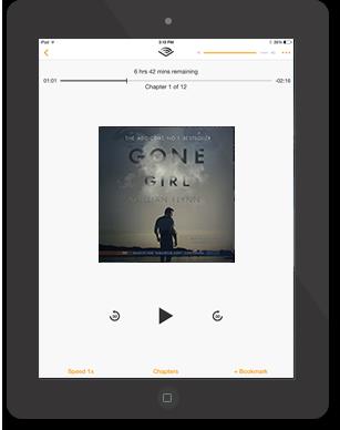 iPad Audible App with Gone Girl by Gillian Flynn