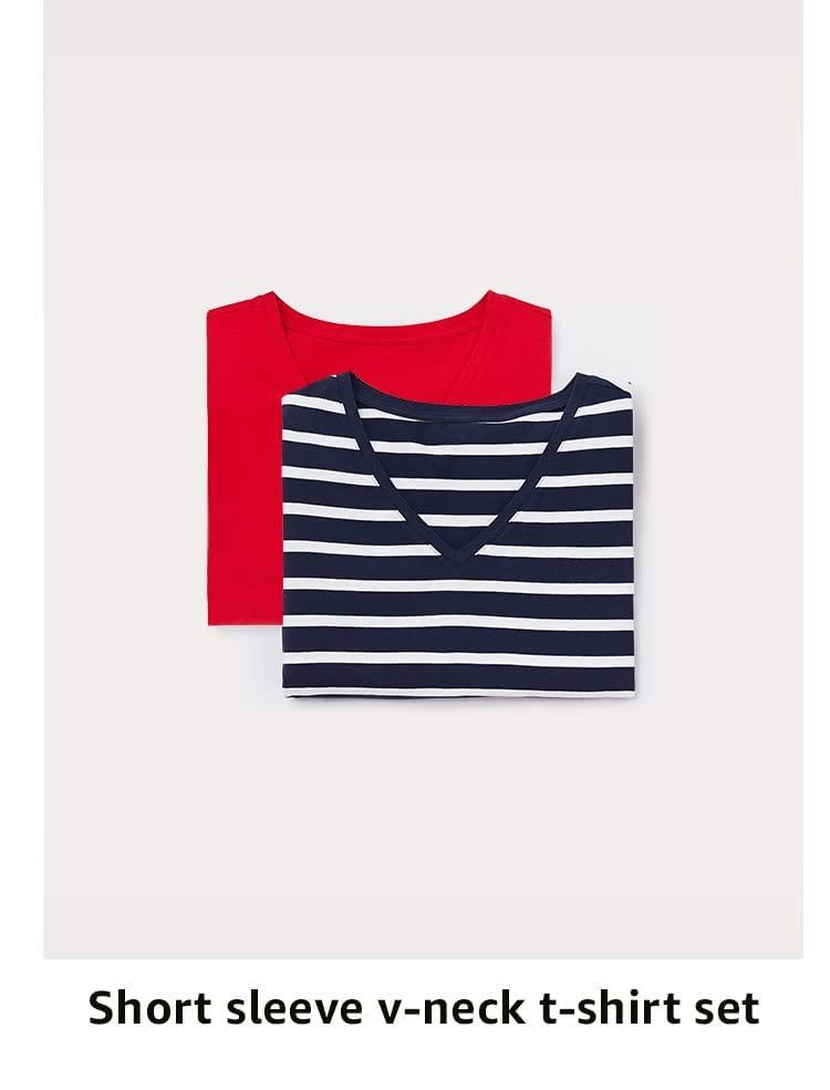Short sleeve v-neck t-shirt set