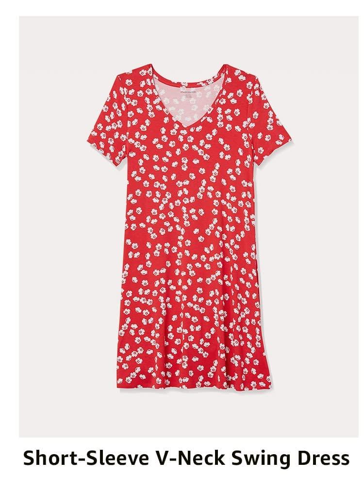 Short-Sleeve V-Neck Swing Dress