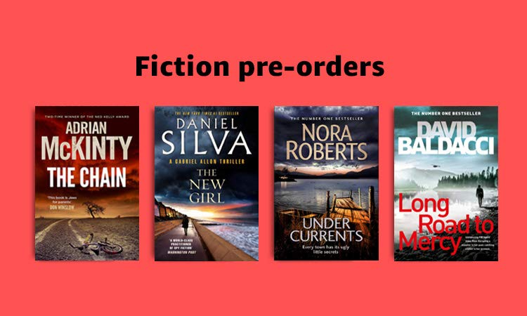 Fiction pre-orders, 40% off RRP on select titles