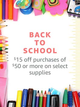 Back to School -- $15 off purchases of $50 or more on select supplies