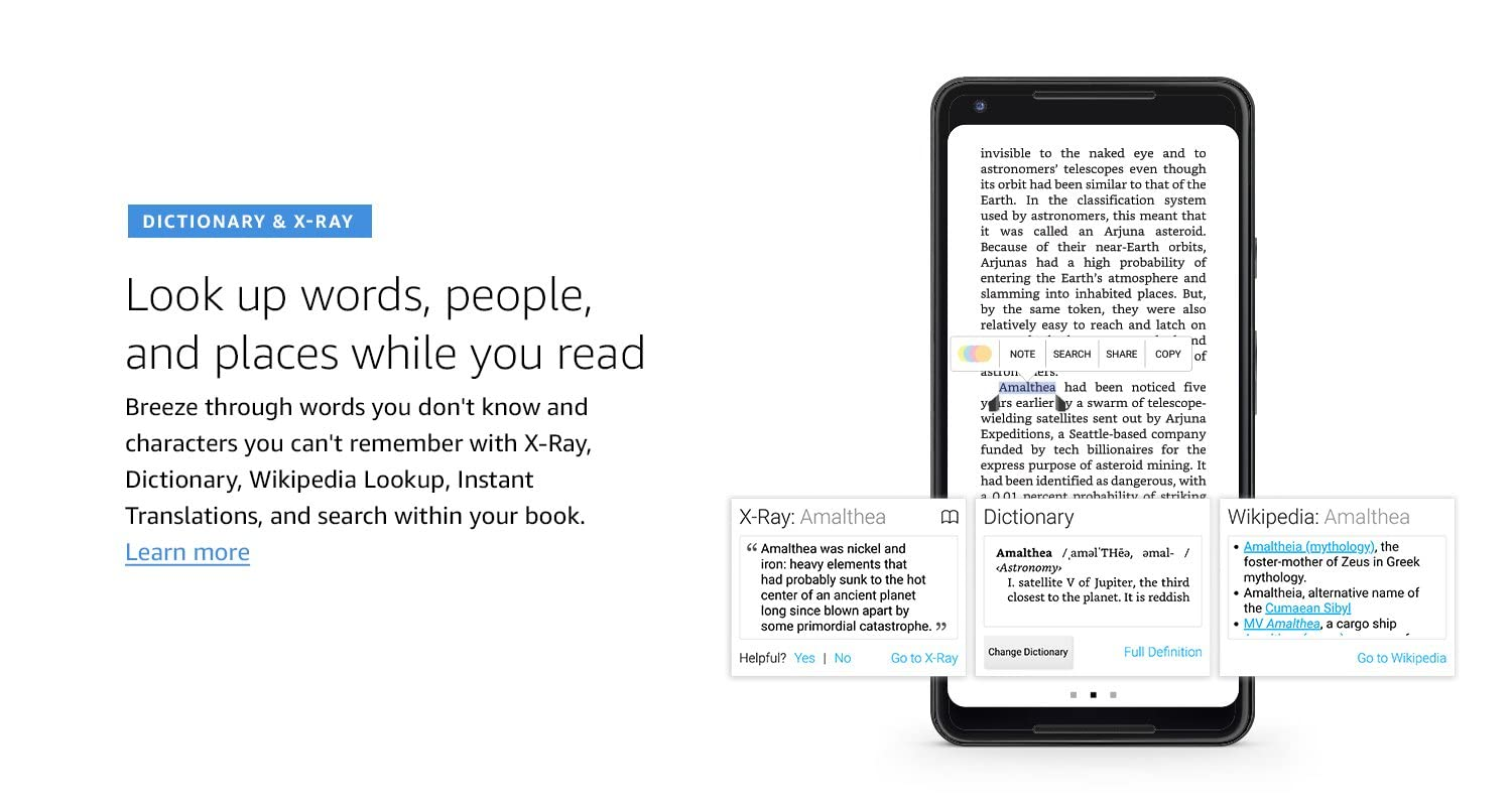 Dictionary & X-Ray, Look up words, people, and places while you read