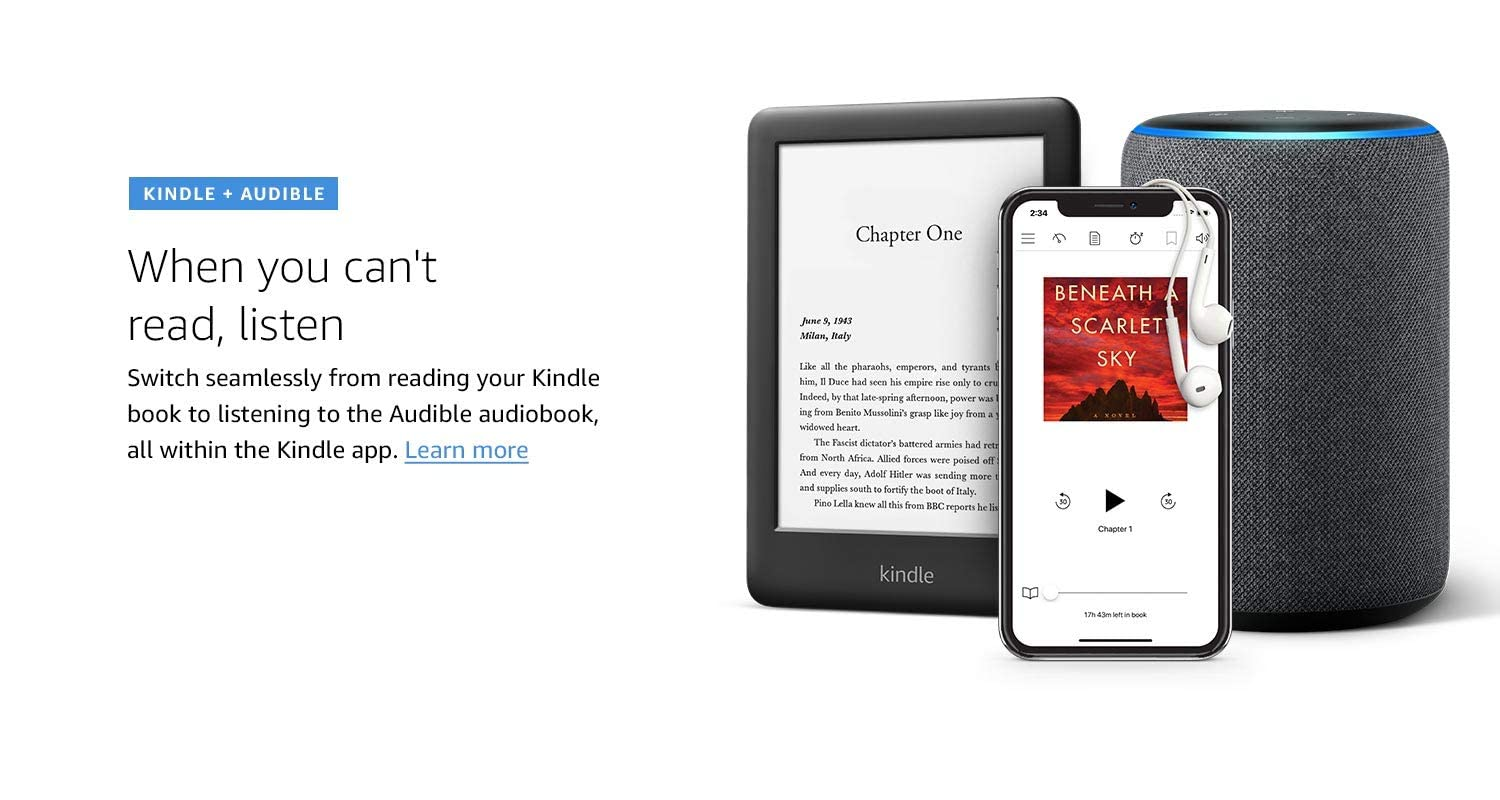 Kindle + Audible, When you can't read, listen
