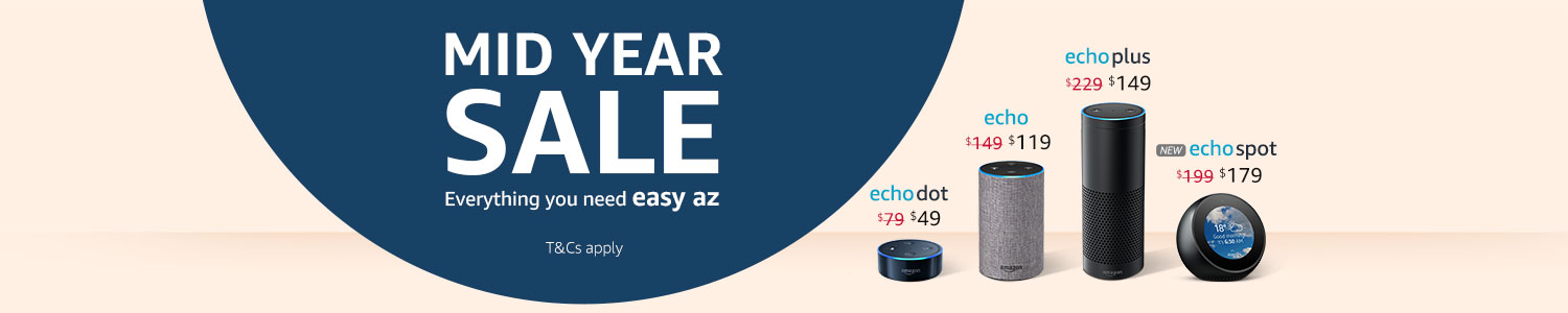 Mid Year Sale. Deals on Echo devices