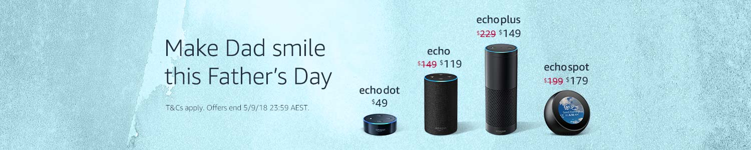 Make Dad smile this Father's Day. Up to $80 off Echo devices