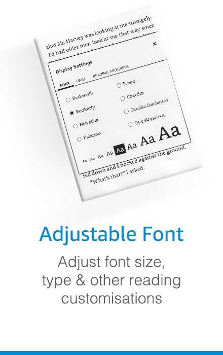 kindle adjustable font