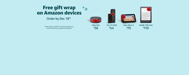 Free Gift Wrap on Amazon Devices