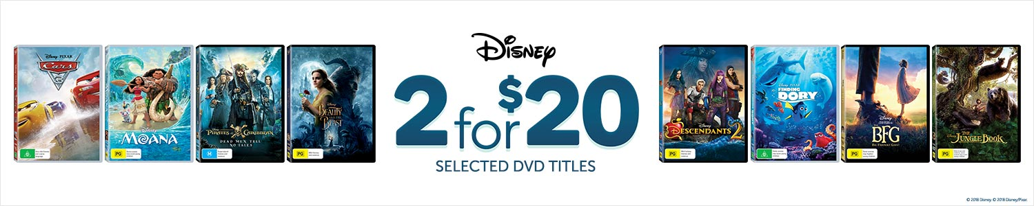 Disney 2 for $20 on selected DVD titles