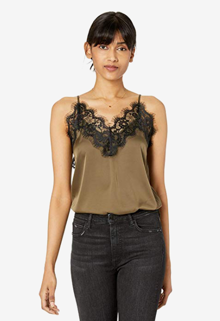 The Drop Natalie V-Neck Lace Trimmed Camisole Tank Top