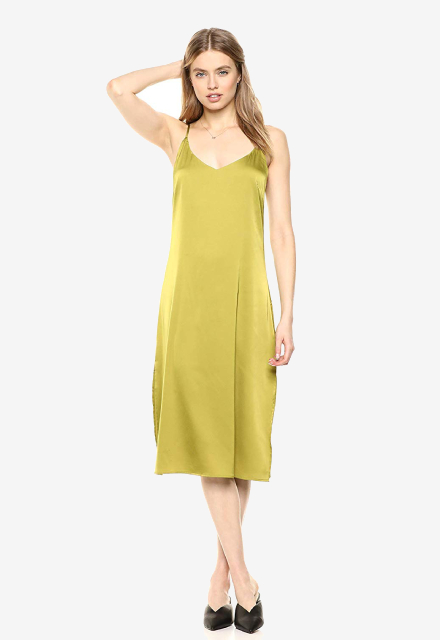 The Drop Ana Silky V-Neck Midi Slip Dress
