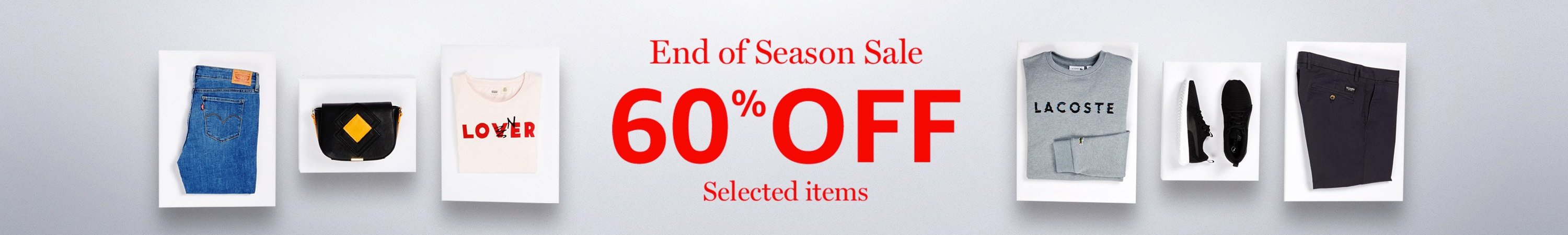 End of season Sale: 60% off selected items
