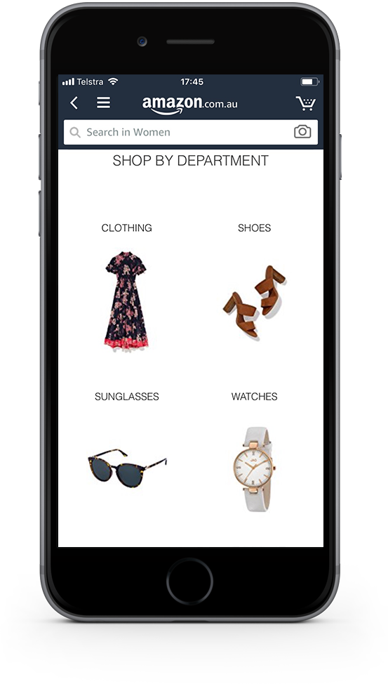 Mobile shopping app product page
