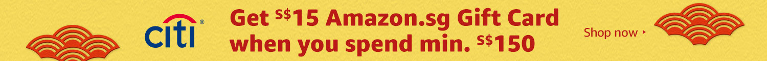 Get S$15 Amazon.sg Gift Card when you spend min. S$150