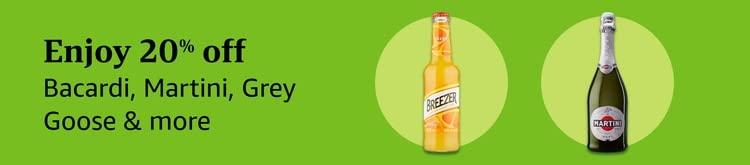 Enjoy 20% off Bacardi, Martini, Grey Goose &more