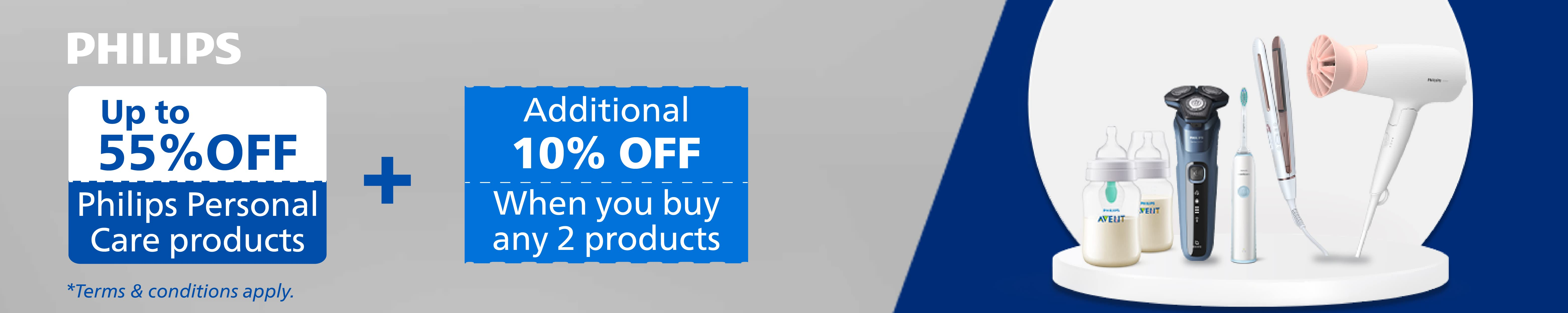 Up to 55% off, Buy 2 extra 10% off Philips products