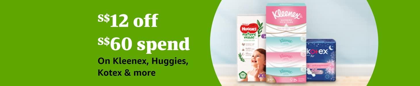 S$12 Off S$60 Spend On Kleenex, Huggies, Kotex & more