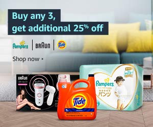Buy any 3, get additional 25% off