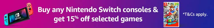 Buy Switch & get 15% off selected games