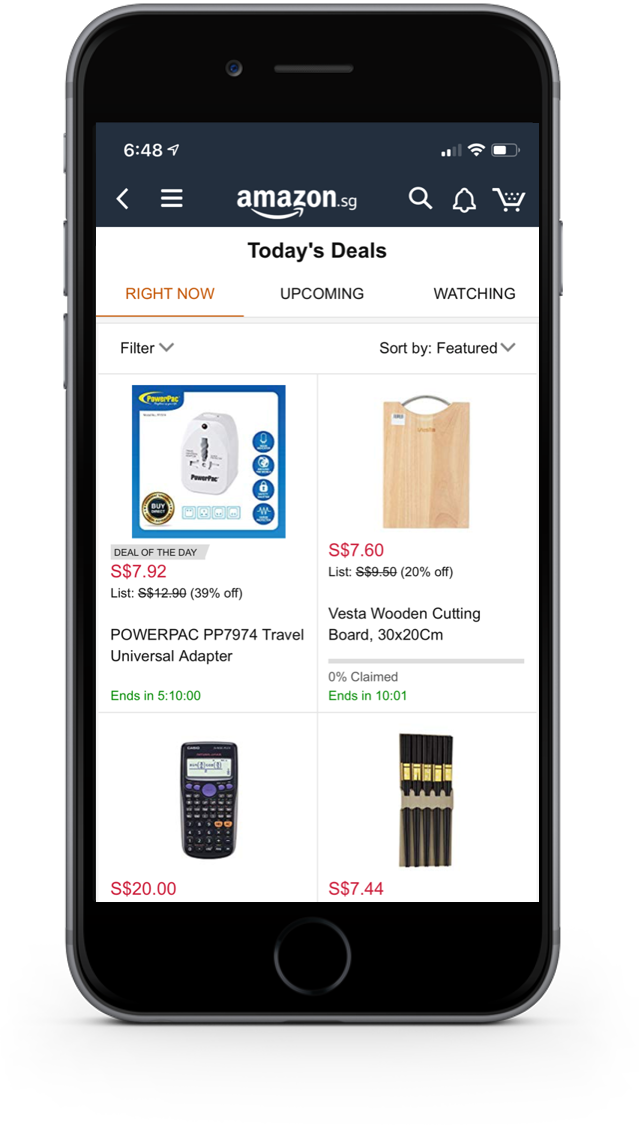 Mobile shopping app deals page