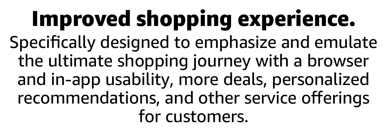 Specifically designed to emphasize and emulate the ultimate shopping journey with a browser and in-app usability.