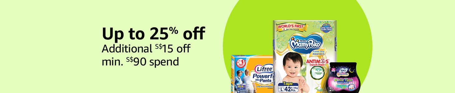 Up to 25% off, additional S$15 off min. S$90 spend on selected MamyPoko, Moony, Sofy & more