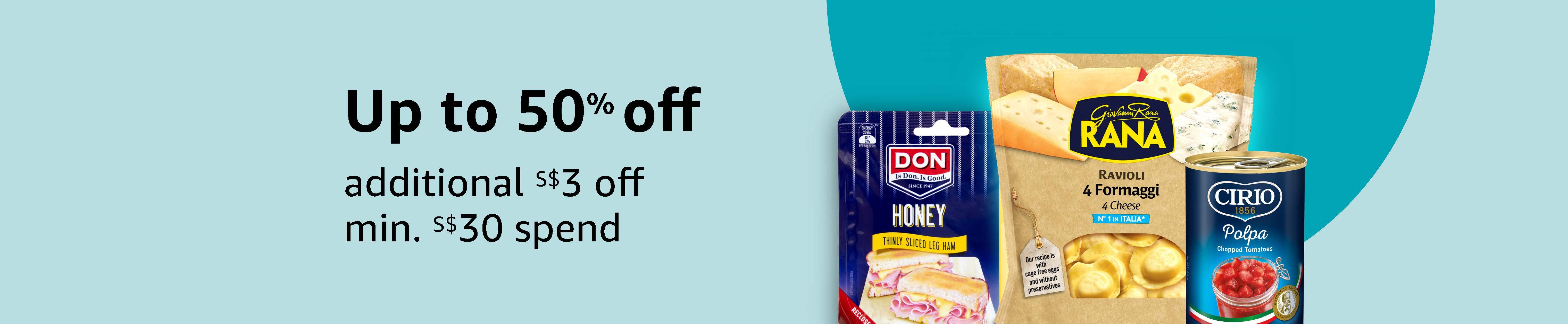 Up to 50% off, additional S$3 off min. S$30 spend on selected Barilla, San Benedetto, Daucy & more
