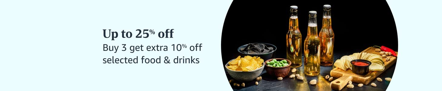 Up to 25% off Buy 3 get extra 10% off selected food & drinks
