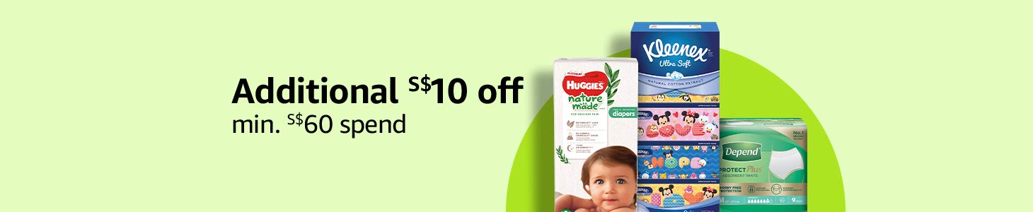 Additional S$10 off min. S$60 spend on selected Kleenex, Huggies, Kotex & more