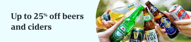 Up to 25% off beers and ciders