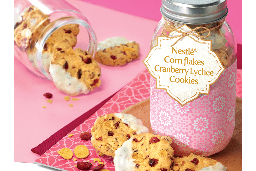 Cranberry Lychee Cornflake Cookies