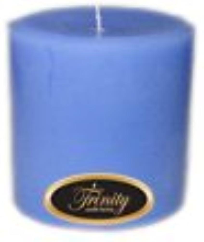 バンク以下シンジケートTrinity Candle工場 – ベビーパウダー – ブルー – Pillar Candle – 4 x 4