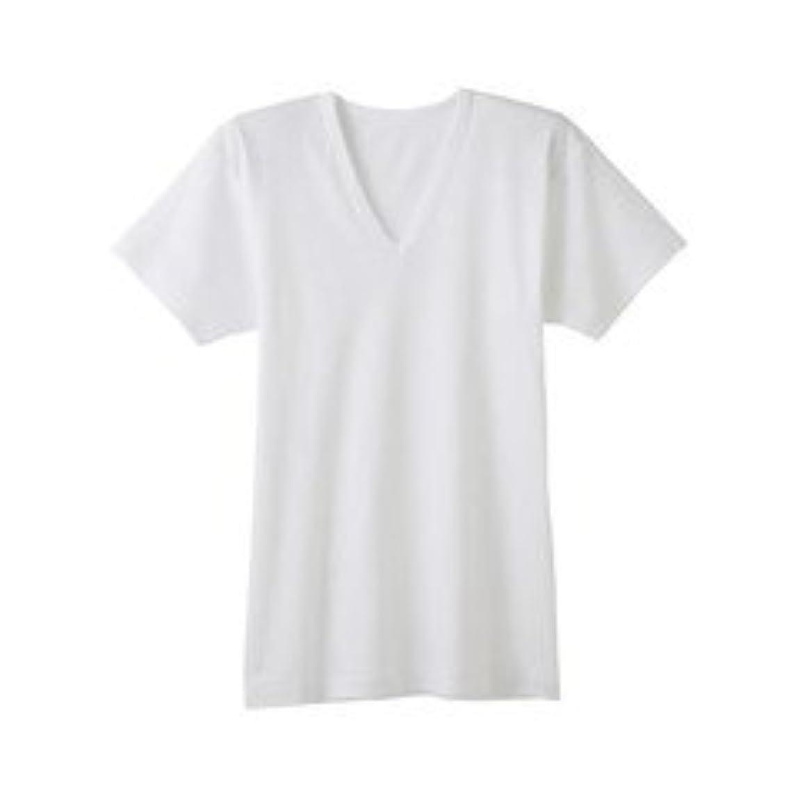あなたは比較的満了グンゼ GUNZE RC2415A-03-M シーズン涼感平台 抗菌防臭 半袖V首シャツ(2枚組) M ホワイト/メンズ