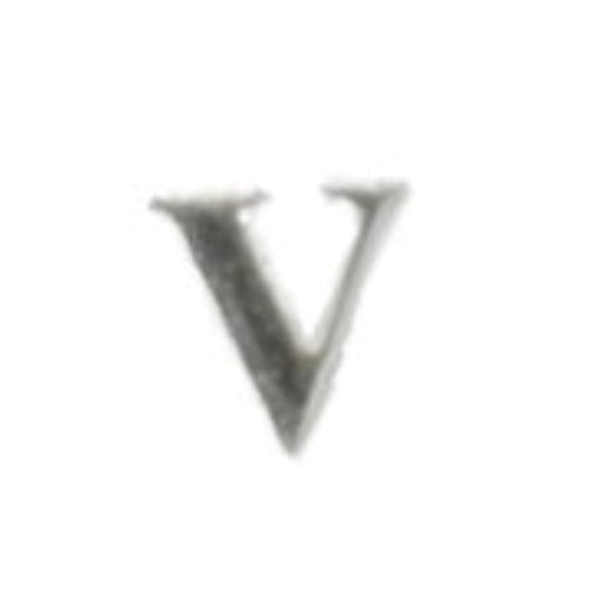 ポイント緊張ラケットメタルパーツ 5枚【V, シルバー($22)】シルバー ネイルアート ジェルジネイル イニシャル デザインパール オリジナル (V, シルバー)